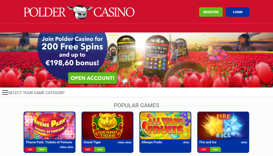 Polder Casino screen