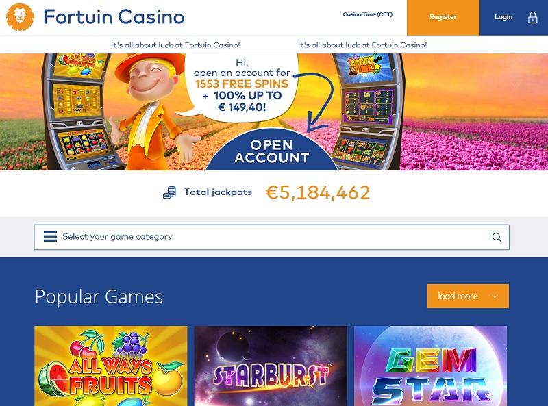 Fortuin Casino website